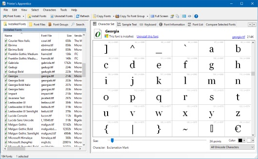 Printer's Apprentice - Windows font manager - character set screen