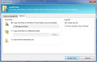 PA 8.0 - Install Fonts dialog - Options
