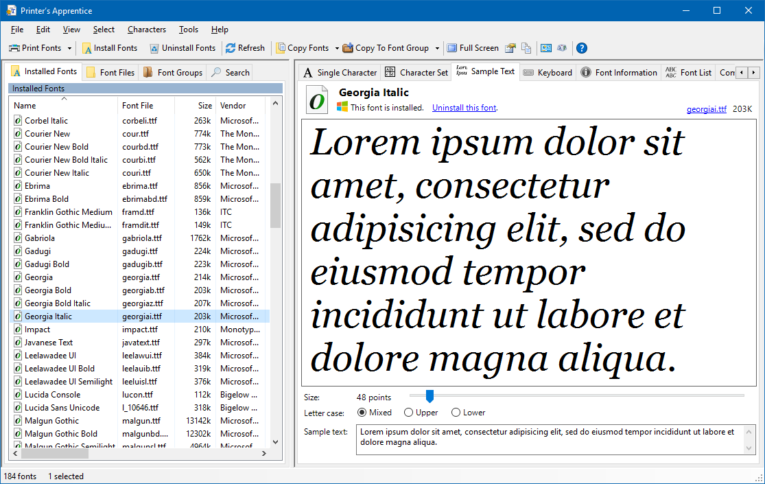 Font Manager for Windows 10, Windows 8, Windows 7, Vista & XP ...