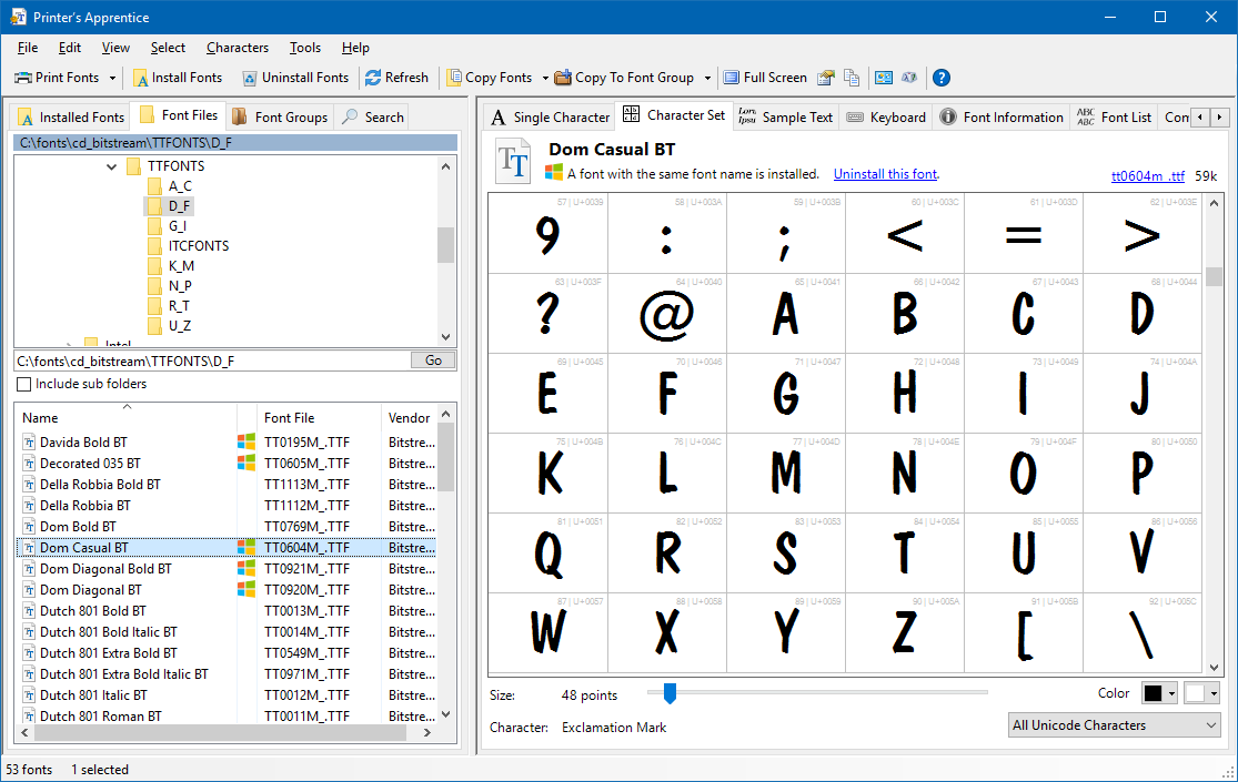 Manage your font files with Printer's Apprentice
